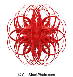 3D red weird organic object isolated on white background.