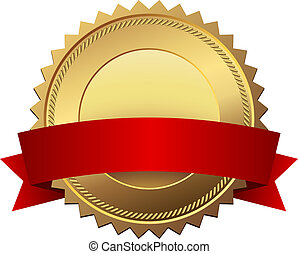 Blank golden quality label with red banner vector template...