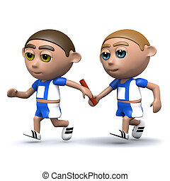 3d Relay race - 3d render of two athletes passing the baton...
