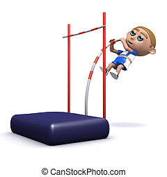 3d Pole vaulter - 3d render of an athlete doing the pole...