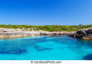 Menorca island south coast in sunny day, Balearic islands,...