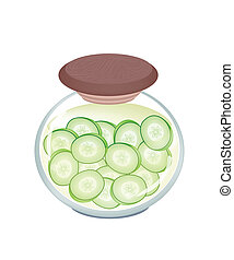 Delicious Pikled Slice Cucumber in A Jar - Vegetable, An...