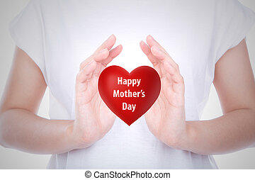 Happy mother's day  Red heart on  woman hands over body isolated on background.