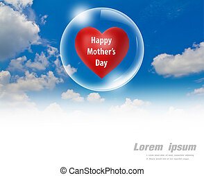 Happy, mother's, day, red, heart, floating, bubble, sky