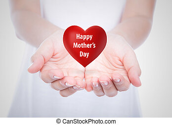 Happy, mother's, day, Red, heart, woman, hands, over, body,...