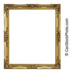 gold picture frame Isolated over white background