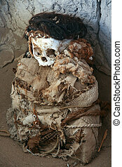 Mummy at Chauchilla Cemetery near Nazca in Peru