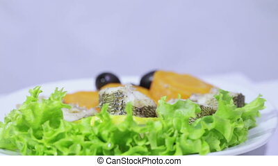 Fish cooked on double boiler - Laid on lettuce leaves boiled...