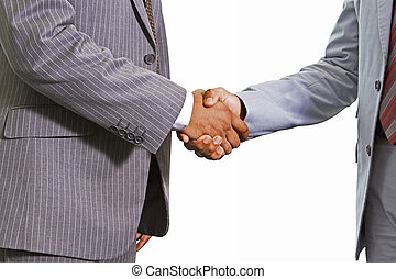 Hand shake between two people wearing suit
