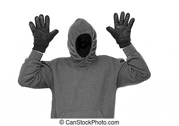 Thief is Caught - A burglar with hands raised
