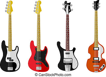 Set of isolated vintage guitars. Flat design. Vector...