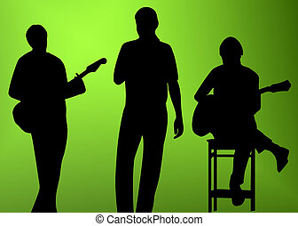 musician silhouette - musician (player, singer) silhouette...