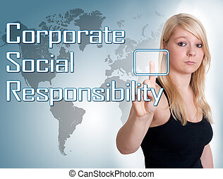 Corporate Social Responsibility - Young woman press digital...