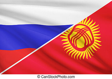 Series of ruffled flags. Russia and Kyrgyz Republic. - Flags...
