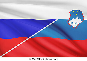 Series of ruffled flags Russia and Republic of Slovenia -...
