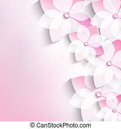 Floral background, greeting card, 3d flowers sakura -...