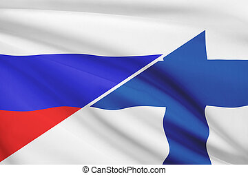 Series of ruffled flags Russia and Republic of Finland -...