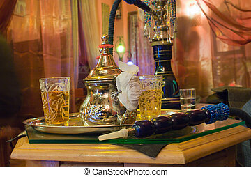 Arabic water pipe at Granada - Arabic water pipe with tea...
