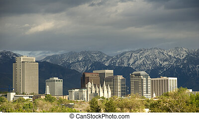 Salt Lake City Utah Skyline - The image shows the downtown...