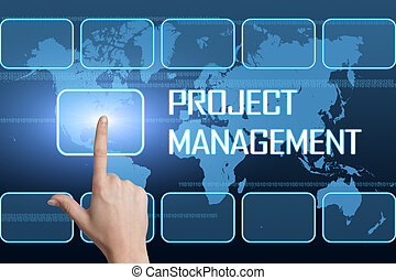 Project Management concept with interface and world map on...