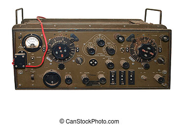 Antique Military Radio isolated with clipping path.