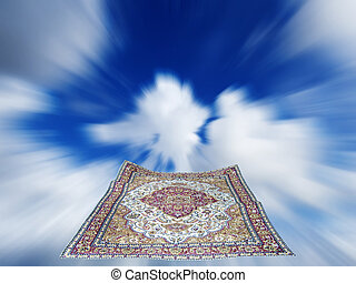 magic carpet - flying carpet in a blue cloudy sky