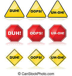 Mistake signs - Concept illustration showing traffic signs...
