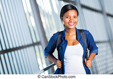 female african college student portrait - portrait of...