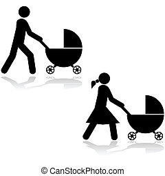 Pushing a stroller - Icon set showing a man and a woman...