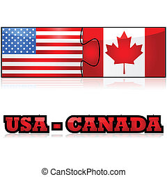 USA and Canada - Concept illustration showing the flags of...