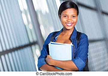 femme, Afro, Américain, université, ÉTUDIANT