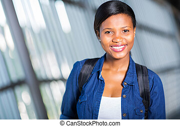 female Afican american college student - attractive female...