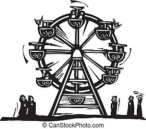 Ferris Wheel - Woodcut style expressionist image of a circus...