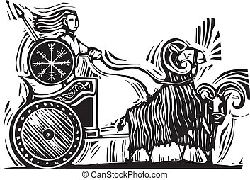 Norse Goddess Frigg - Woodcut Style image of the Norse...