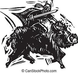 Norse God Frey - Woodcut style image of the Norse God Frey...