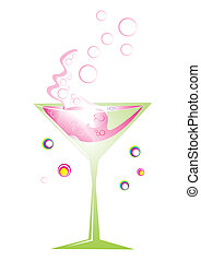 Retro cocktail in green glass with pink splash, vector...