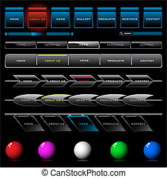 web navigation set - Set of shiny web navigation button...