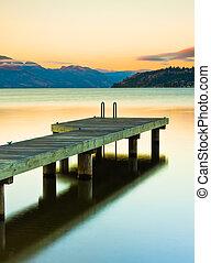 muelle, ocaso, lago, barco