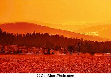 Orange landscape - Awesome orange landscape of valley with...