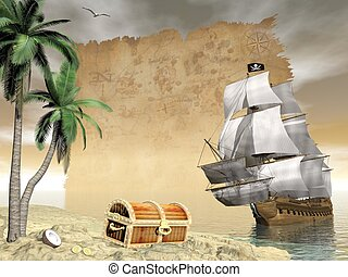 Pirate ship finding treasure - 3D render - Pirate ship...