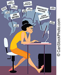 Internet job search - Young woman browsing Internet, a world...