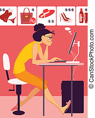 Woman shopping in an online store - Young woman sitting at...