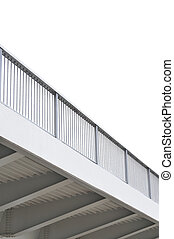 Steel bridge girder span, blue grey metal pillar rails,...