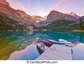 Sunst on the Mountains at Lake Ohara's Shore