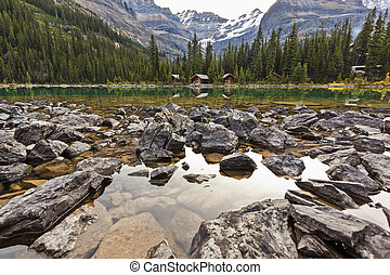 Rocky shore of Lake in Mountains