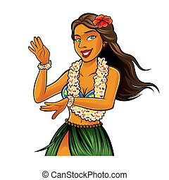 Hula Dancer - Hula dancer is dancing with joy and wearing...
