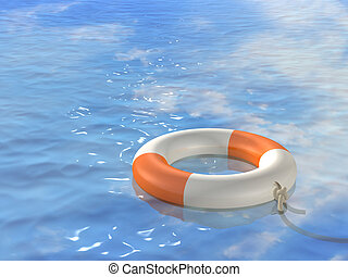 3d bright lifebuoy ring, floating on waves