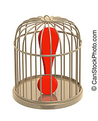 Exclamation mark of red color in cage
