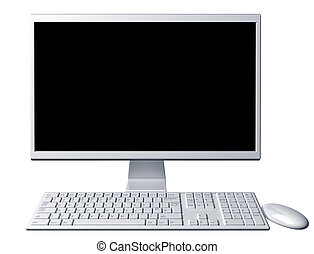 Contemporary desktop computer with blank screen - Isolated...