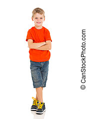 little boy with arms crossed isolated on white background
